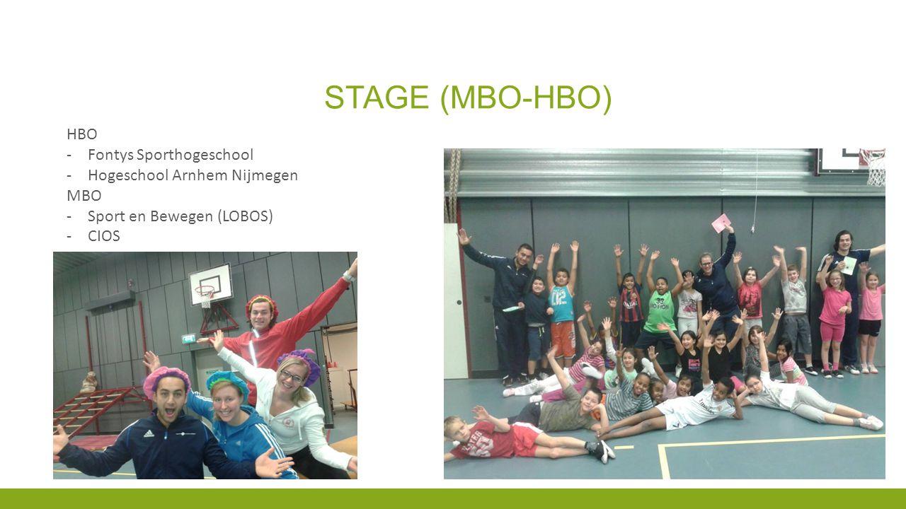 STAGE (MBO-HBO) HBO -Fontys Sporthogeschool -Hogeschool Arnhem Nijmegen MBO -Sport en Bewegen (LOBOS) -CIOS