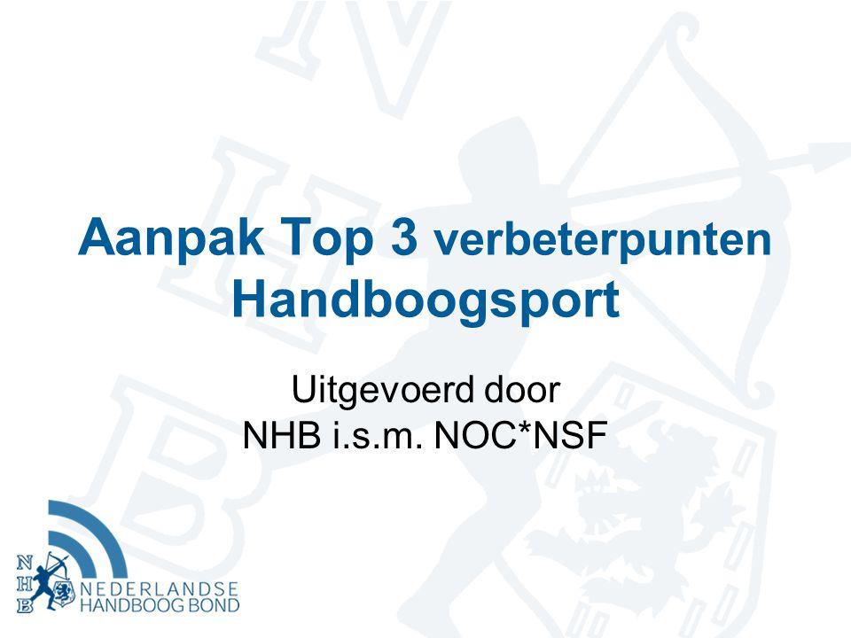 Aanpak Top 3 verbeterpunten Handboogsport Uitgevoerd door NHB i.s.m. NOC*NSF