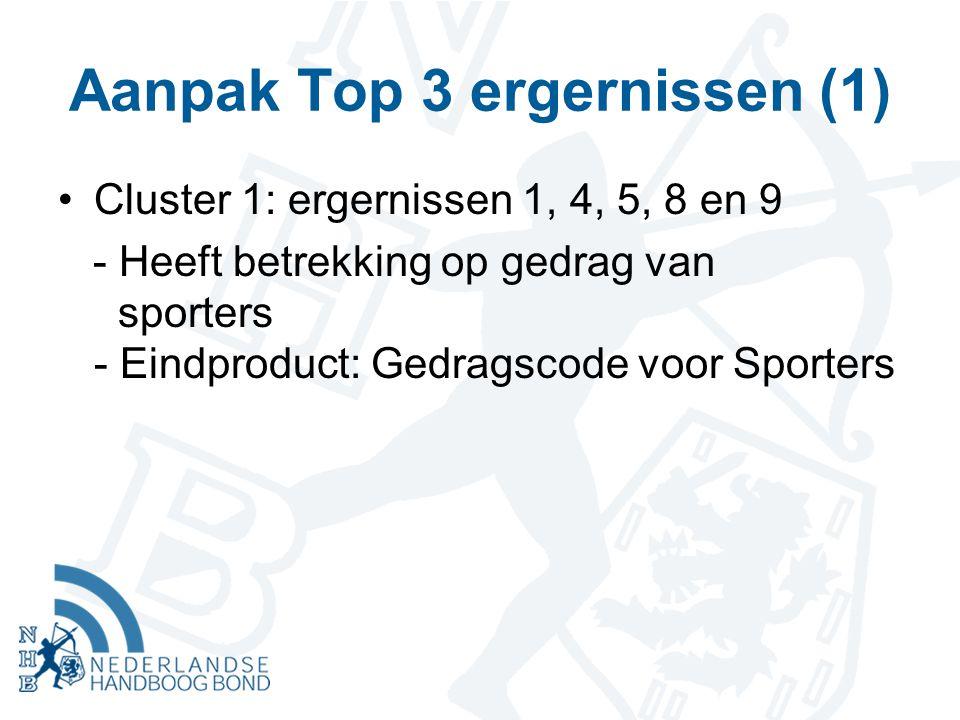 Aanpak Top 3 ergernissen (1) Cluster 1: ergernissen 1, 4, 5, 8 en 9 - Heeft betrekking op gedrag van sporters - Eindproduct: Gedragscode voor Sporters