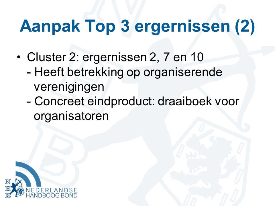 Aanpak Top 3 ergernissen (2) Cluster 2: ergernissen 2, 7 en 10 - Heeft betrekking op organiserende verenigingen - Concreet eindproduct: draaiboek voor