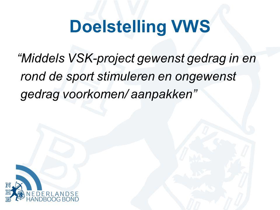 "Doelstelling VWS ""Middels VSK-project gewenst gedrag in en rond de sport stimuleren en ongewenst gedrag voorkomen/ aanpakken"""