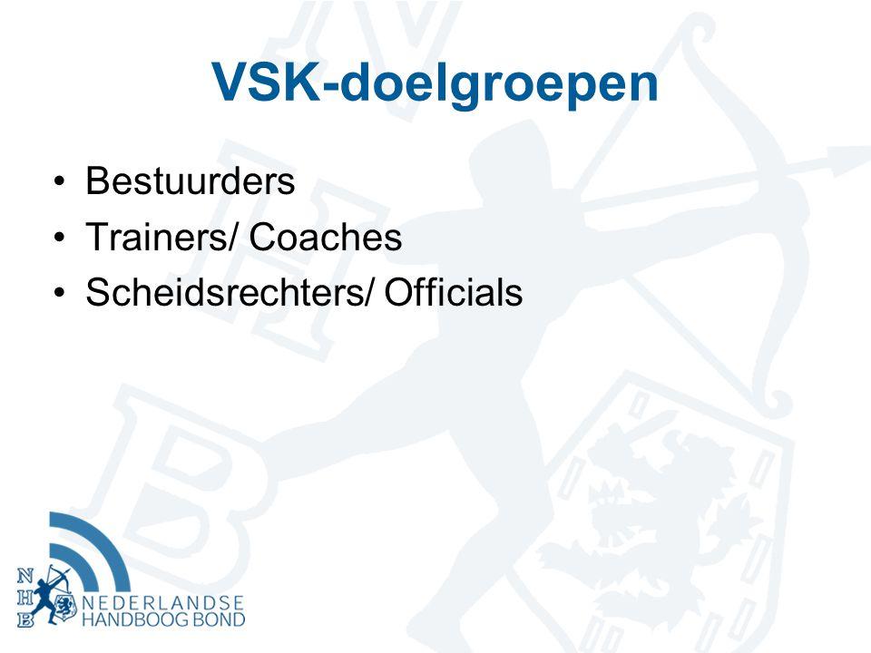 VSK-doelgroepen Bestuurders Trainers/ Coaches Scheidsrechters/ Officials