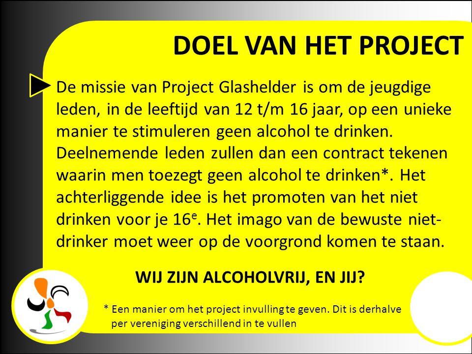DOEL VAN HET PROJECT De missie van Project Glashelder is om de jeugdige leden, in de leeftijd van 12 t/m 16 jaar, op een unieke manier te stimuleren geen alcohol te drinken.