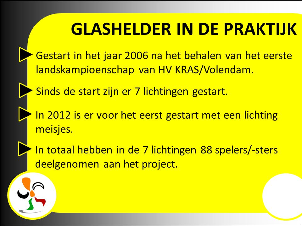 Gestart in het jaar 2006 na het behalen van het eerste landskampioenschap van HV KRAS/Volendam. Sinds de start zijn er 7 lichtingen gestart. In 2012 i