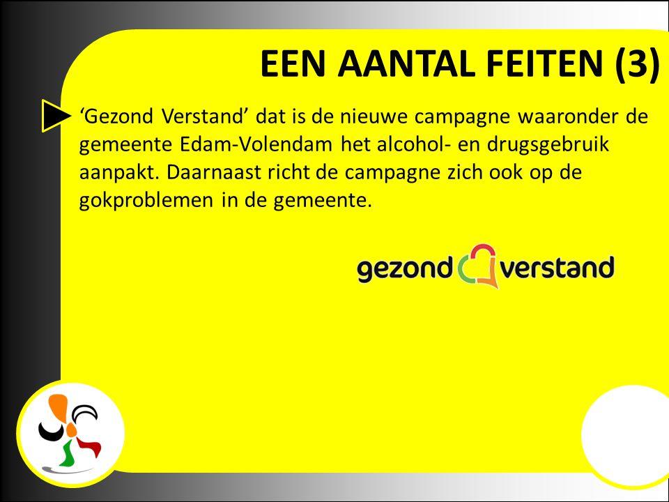 EEN AANTAL FEITEN (3) 'Gezond Verstand' dat is de nieuwe campagne waaronder de gemeente Edam-Volendam het alcohol- en drugsgebruik aanpakt. Daarnaast