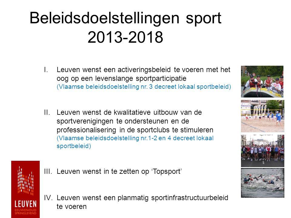 Beleidsdoelstellingen sport 2013-2018 I.Leuven wenst een activeringsbeleid te voeren met het oog op een levenslange sportparticipatie (Vlaamse beleids