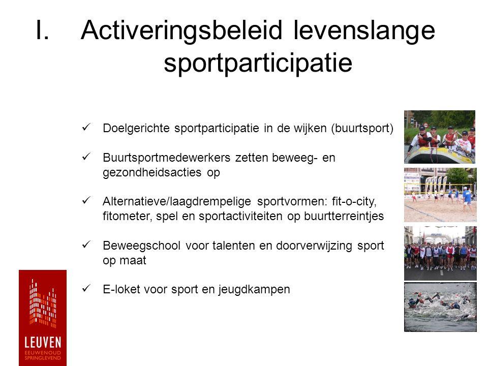 I.Activeringsbeleid levenslange sportparticipatie Doelgerichte sportparticipatie in de wijken (buurtsport) Buurtsportmedewerkers zetten beweeg- en gez