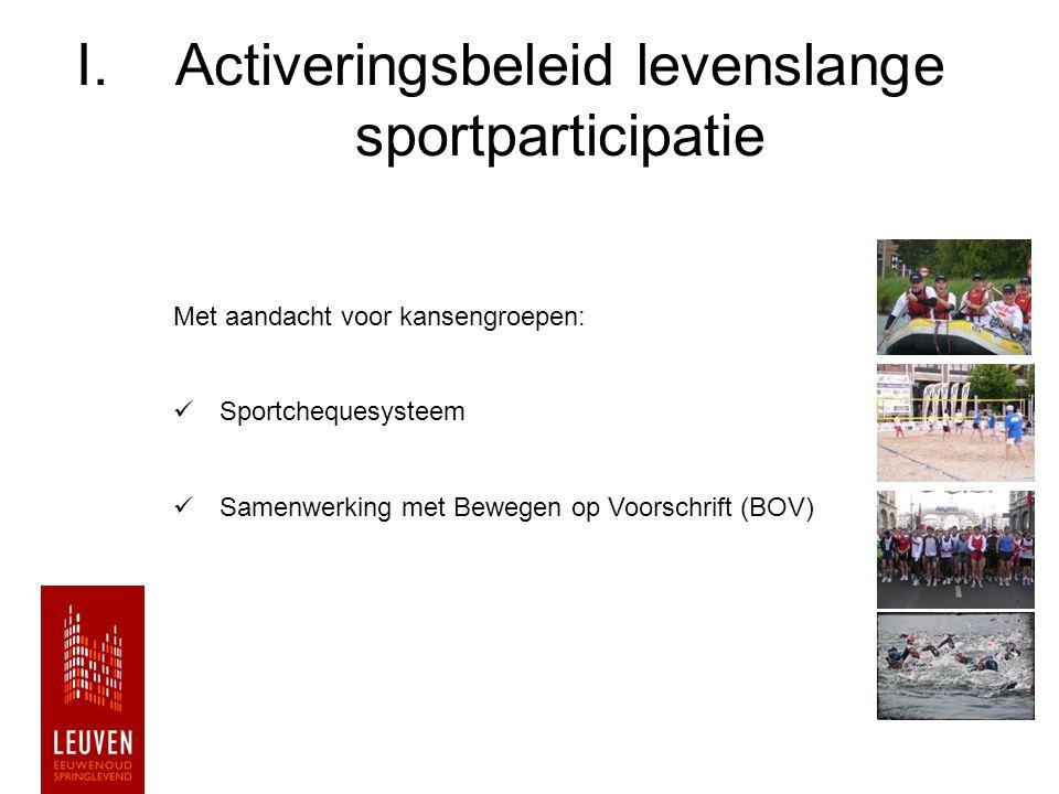 I.Activeringsbeleid levenslange sportparticipatie Met aandacht voor kansengroepen: Sportchequesysteem Samenwerking met Bewegen op Voorschrift (BOV)