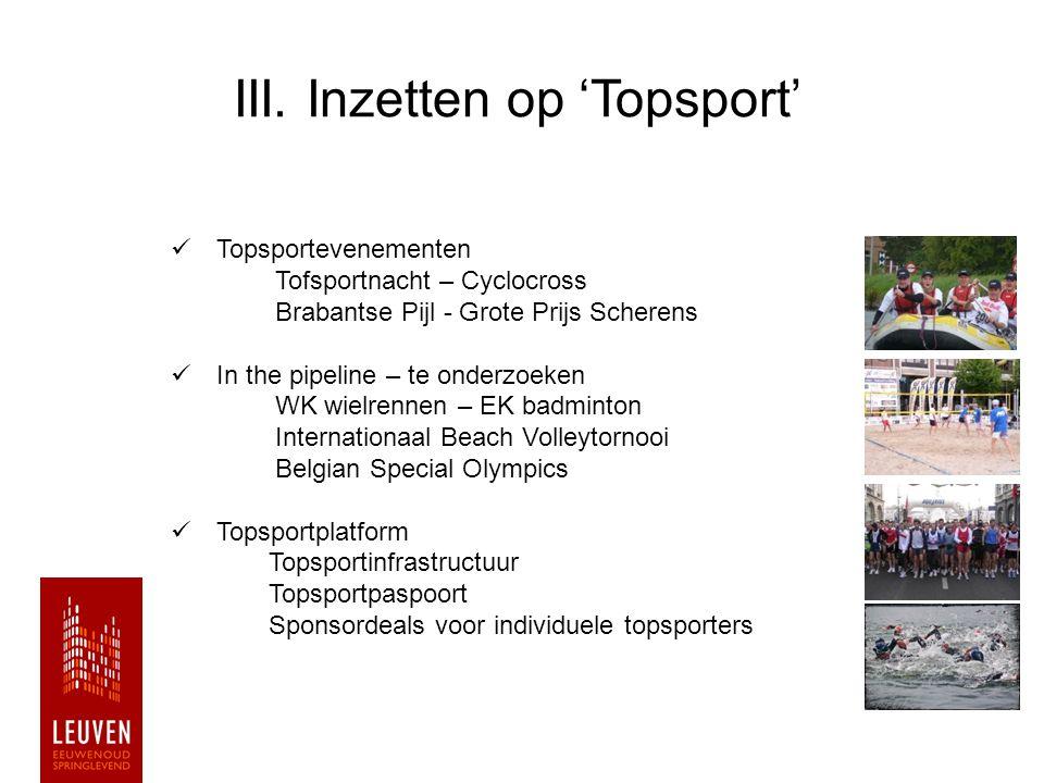 III. Inzetten op 'Topsport' Topsportevenementen Tofsportnacht – Cyclocross Brabantse Pijl - Grote Prijs Scherens In the pipeline – te onderzoeken WK w