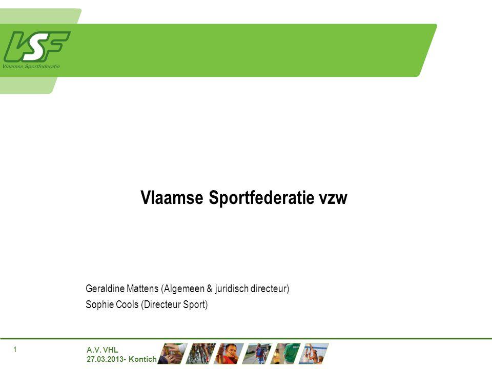 A.V. VHL 27.03.2013- Kontich 1 Vlaamse Sportfederatie vzw Geraldine Mattens (Algemeen & juridisch directeur) Sophie Cools (Directeur Sport)