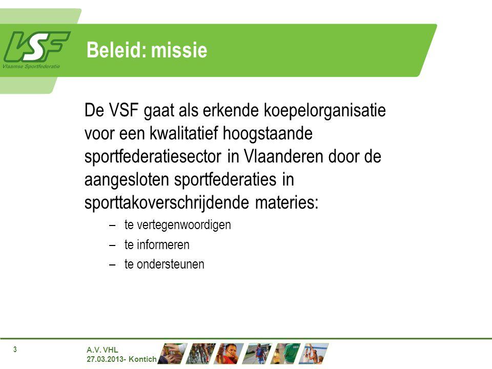 A.V. VHL 27.03.2013- Kontich 3 Beleid: missie De VSF gaat als erkende koepelorganisatie voor een kwalitatief hoogstaande sportfederatiesector in Vlaan