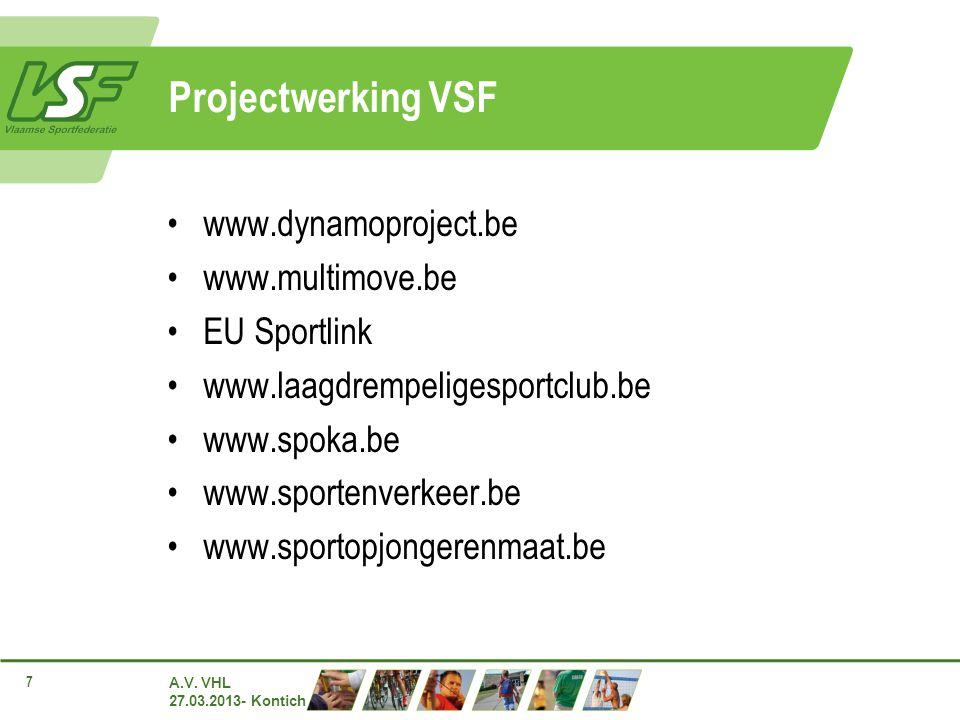 A.V. VHL 27.03.2013- Kontich 7 Projectwerking VSF www.dynamoproject.be www.multimove.be EU Sportlink www.laagdrempeligesportclub.be www.spoka.be www.s