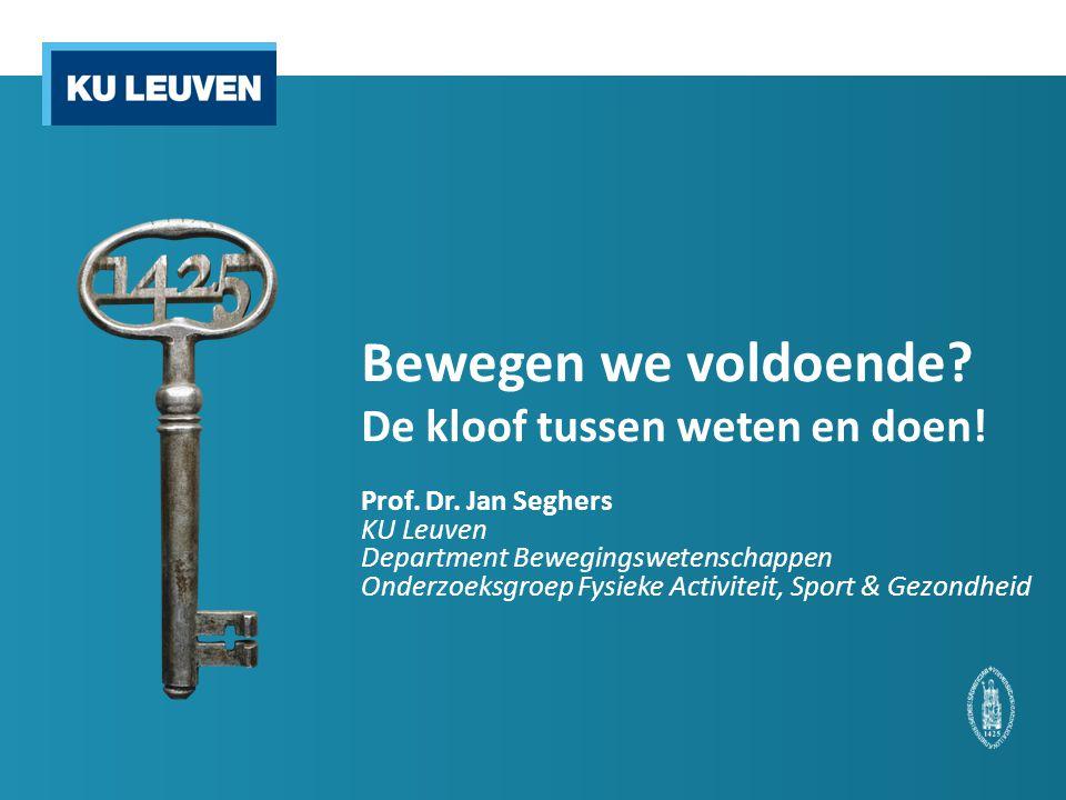 Beleid Vlaamse gezondheidsdoelstellingen 2008-2015 o Hoofddoelstelling voeding & beweging Het realiseren van gezondheidswinst op bevolkingsniveau door een stijging van het aantal mensen dat voldoende fysieke actief is, evenwichtig eet en een gezond gewicht nastreeft. o 5 subdoelstellingen Tegen 2015 stijgt het percentage personen dat voldoende fysiek actief is om gezondheidswinst te behalen met 10% punten.