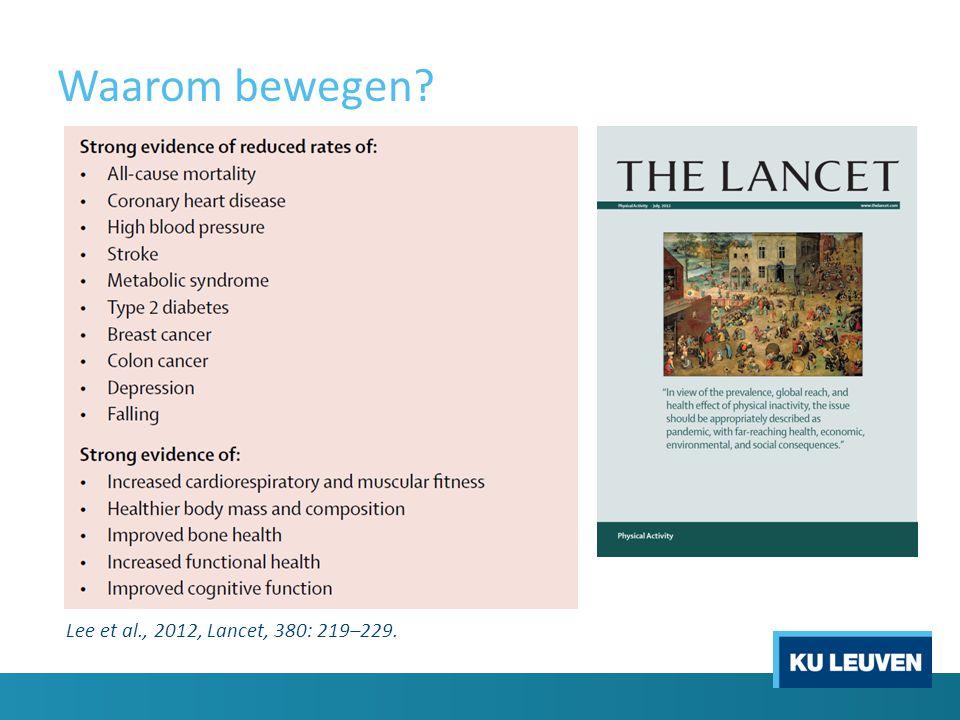 Waarom bewegen? Lee et al., 2012, Lancet, 380: 219–229.