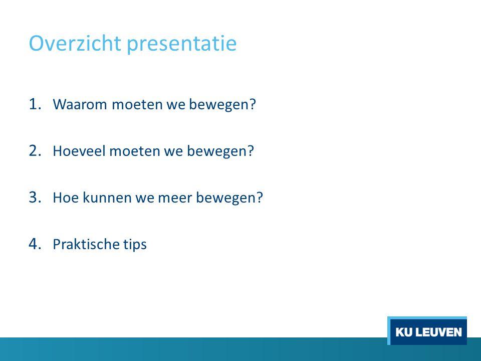 Overzicht presentatie 1.Waarom moeten we bewegen.