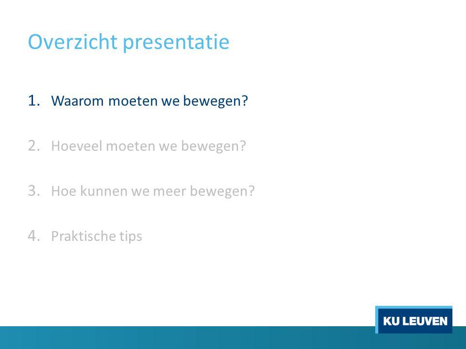 Overzicht presentatie 1. Waarom moeten we bewegen? 2. Hoeveel moeten we bewegen? 3. Hoe kunnen we meer bewegen? 4. Praktische tips