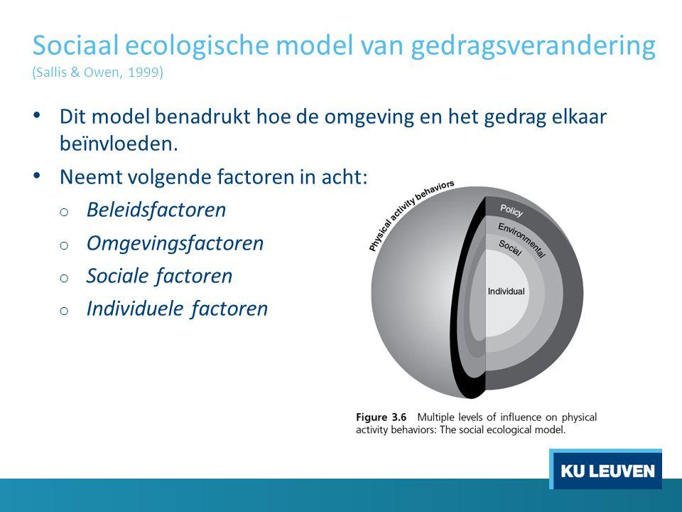 Sociaal ecologische model van gedragsverandering (Sallis & Owen, 1999) Dit model benadrukt hoe de omgeving en het gedrag elkaar beïnvloeden. Neemt vol