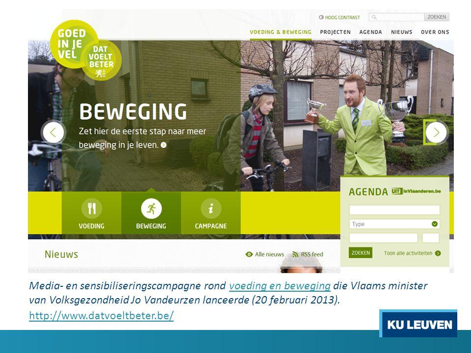 Media- en sensibiliseringscampagne rond voeding en beweging die Vlaams minister van Volksgezondheid Jo Vandeurzen lanceerde (20 februari 2013).voeding