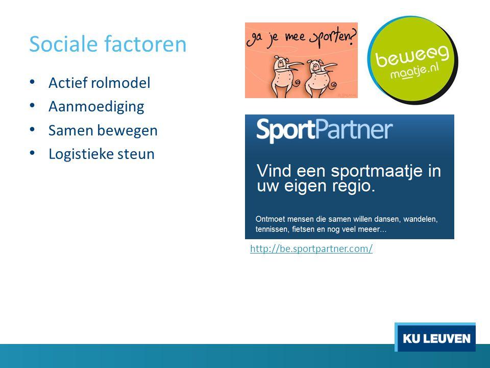 Sociale factoren Actief rolmodel Aanmoediging Samen bewegen Logistieke steun http://be.sportpartner.com/