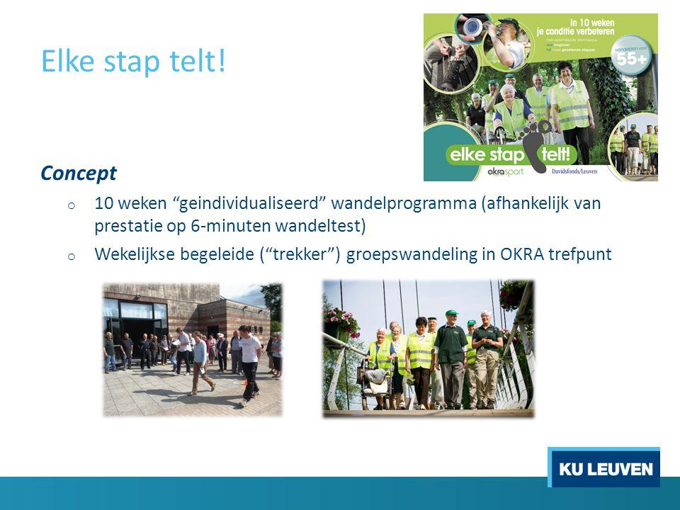 """Elke stap telt! Concept o 10 weken """"geindividualiseerd"""" wandelprogramma (afhankelijk van prestatie op 6-minuten wandeltest) o Wekelijkse begeleide (""""t"""