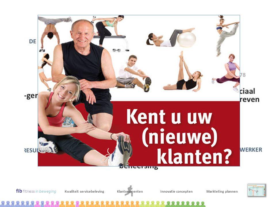 fib fitness in beweging Kwaliteit servicebelevingKlantsegmentenInnovatie conceptenMarkteting plannen april-juni 2009 Kwalitatief onderzoek: context ma