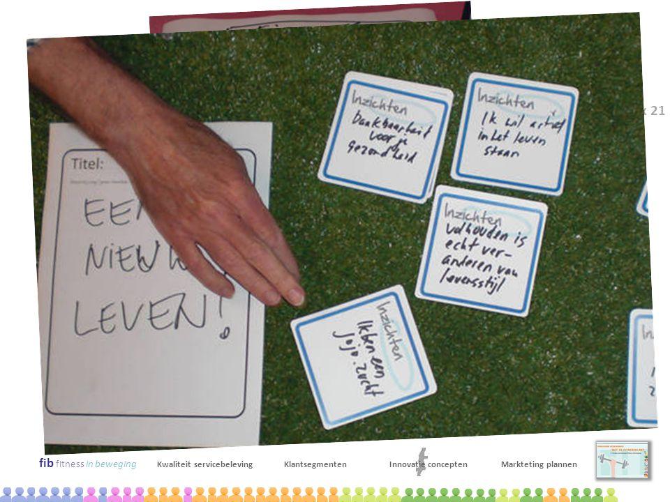 maart 2009 Kick-off bijeenkomst x 16 april 2009 Innovatie workshop x 21 x 9 mei 2009 Selecteren kansrijke innovatie trajecten x 13 fib fitness in bewe