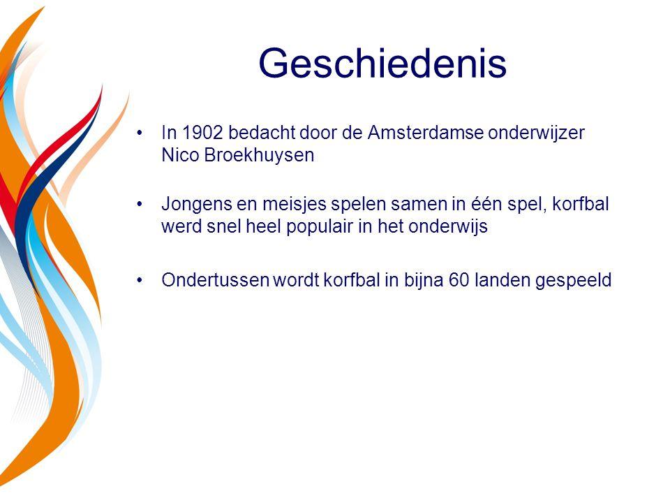 Geschiedenis In 1902 bedacht door de Amsterdamse onderwijzer Nico Broekhuysen Jongens en meisjes spelen samen in één spel, korfbal werd snel heel popu