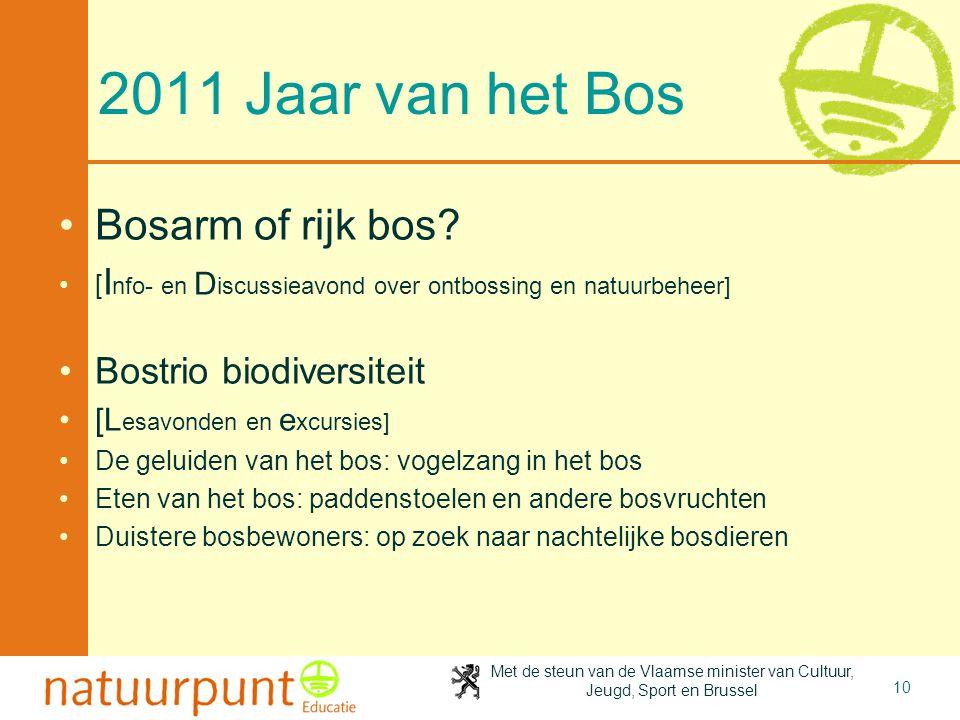 10 2011 Jaar van het Bos Bosarm of rijk bos? [ I nfo- en D iscussieavond over ontbossing en natuurbeheer] Bostrio biodiversiteit [L esavonden en e xcu