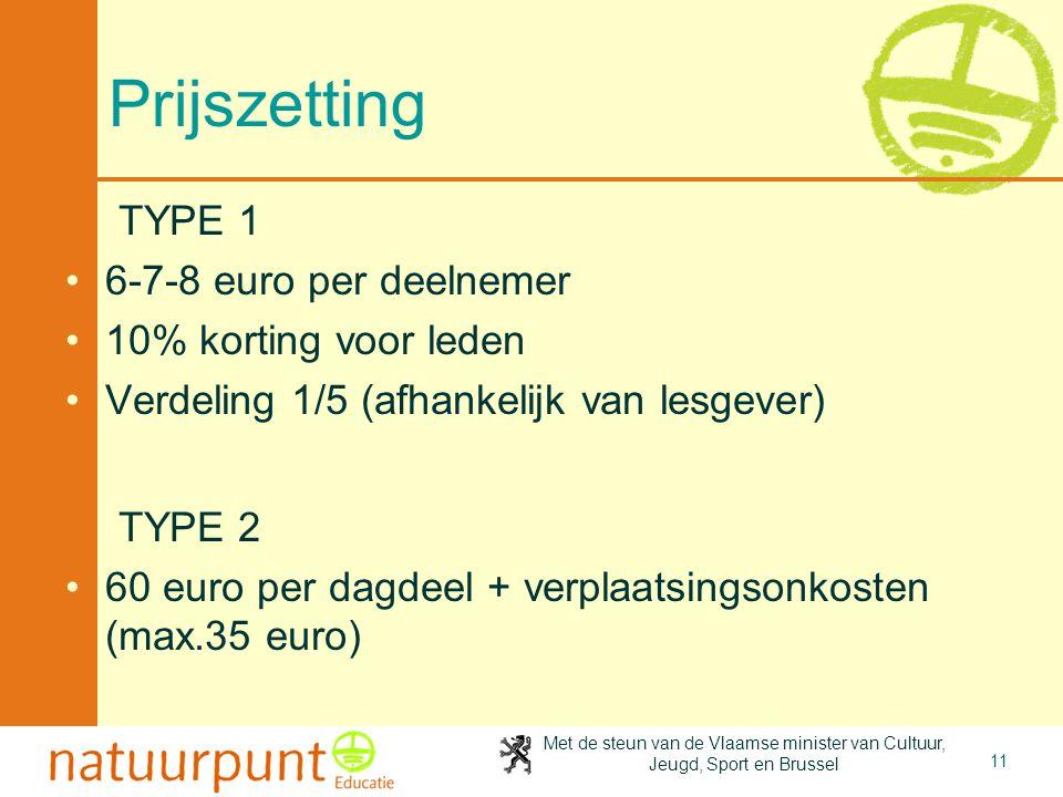 Met de steun van de Vlaamse minister van Cultuur, Jeugd, Sport en Brussel 11 Prijszetting TYPE 1 6-7-8 euro per deelnemer 10% korting voor leden Verde