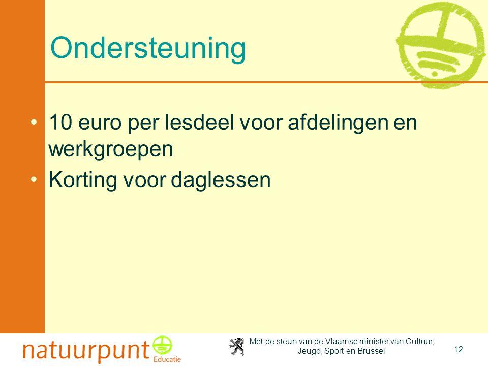 Met de steun van de Vlaamse minister van Cultuur, Jeugd, Sport en Brussel 12 Ondersteuning 10 euro per lesdeel voor afdelingen en werkgroepen Korting