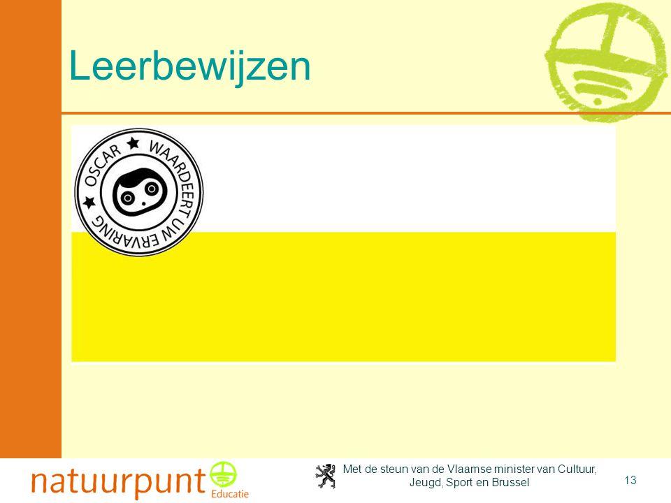Met de steun van de Vlaamse minister van Cultuur, Jeugd, Sport en Brussel 13 Leerbewijzen
