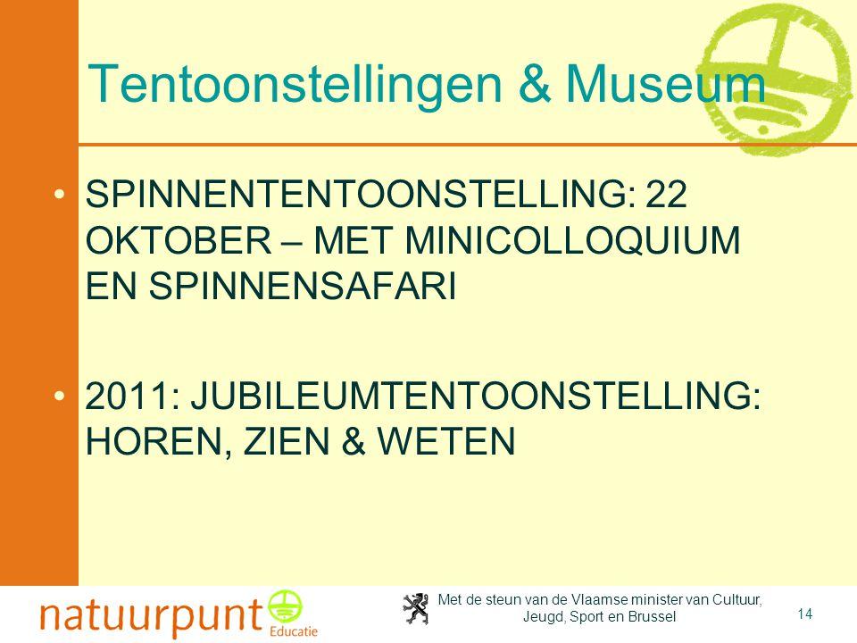Met de steun van de Vlaamse minister van Cultuur, Jeugd, Sport en Brussel 14 Tentoonstellingen & Museum SPINNENTENTOONSTELLING: 22 OKTOBER – MET MINIC