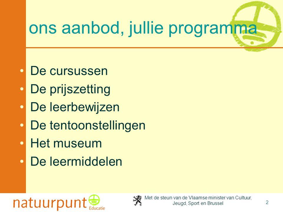 Met de steun van de Vlaamse minister van Cultuur, Jeugd, Sport en Brussel 2 ons aanbod, jullie programma De cursussen De prijszetting De leerbewijzen