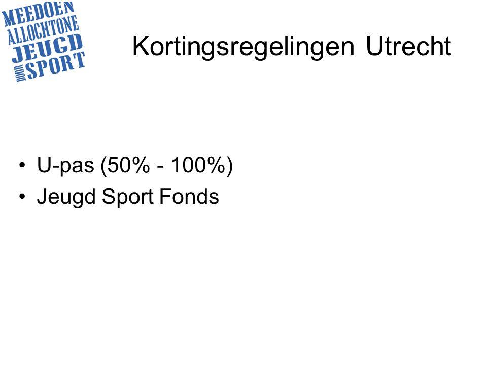 Kortingsregelingen Utrecht U-pas (50% - 100%) Jeugd Sport Fonds