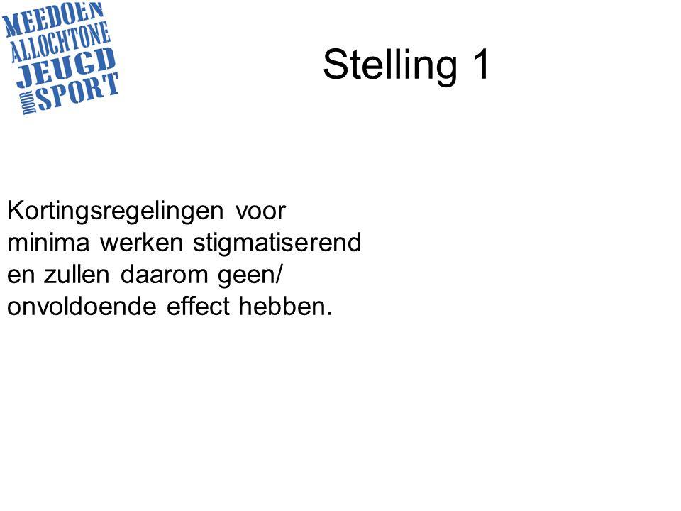 Stelling 1 Kortingsregelingen voor minima werken stigmatiserend en zullen daarom geen/ onvoldoende effect hebben.