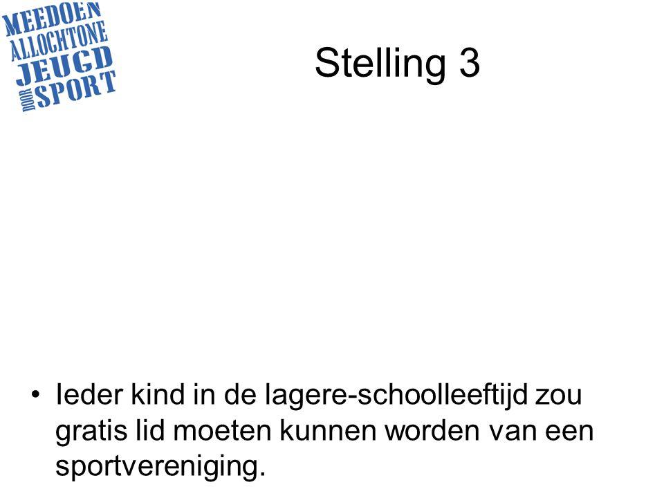 Stelling 3 Ieder kind in de lagere-schoolleeftijd zou gratis lid moeten kunnen worden van een sportvereniging.