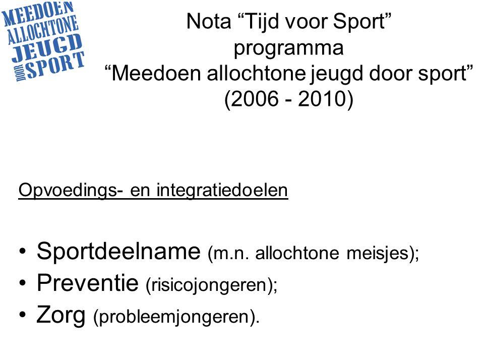 Nota Tijd voor Sport programma Meedoen allochtone jeugd door sport (2006 - 2010) Opvoedings- en integratiedoelen Sportdeelname (m.n.