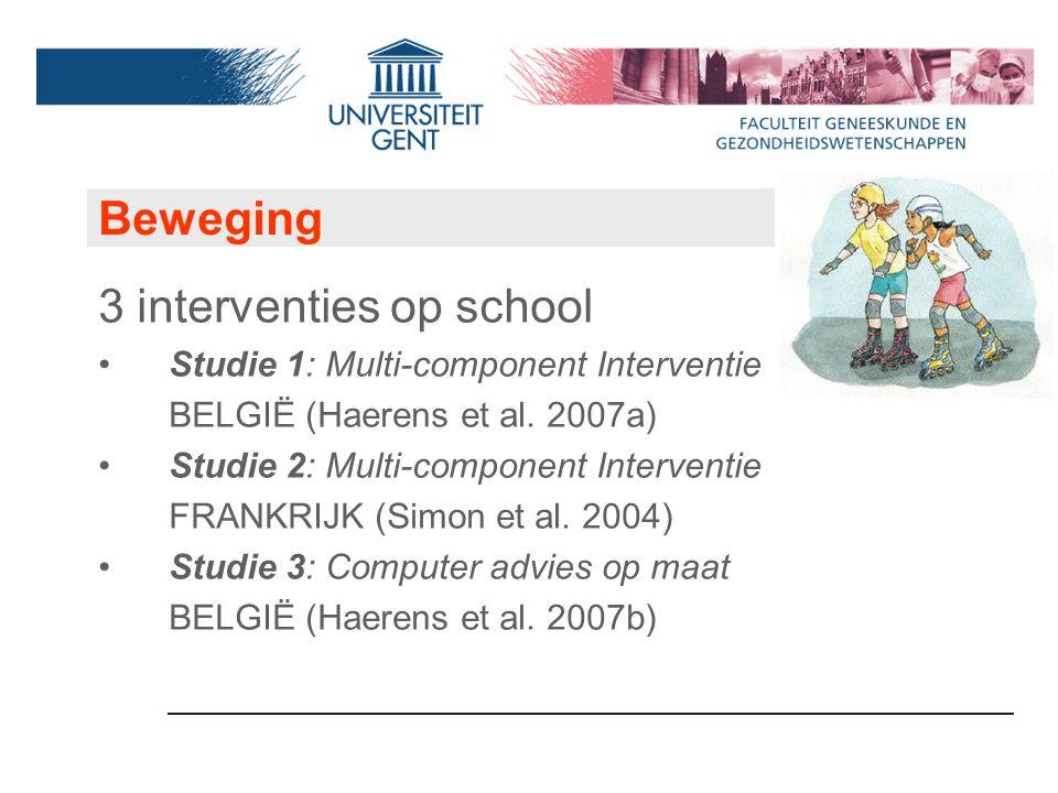Beweging 3 interventies op school Studie 1: Multi-component Interventie BELGIË (Haerens et al.