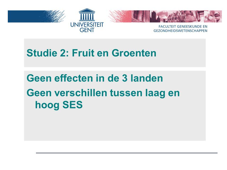 Studie 2: Fruit en Groenten Geen effecten in de 3 landen Geen verschillen tussen laag en hoog SES