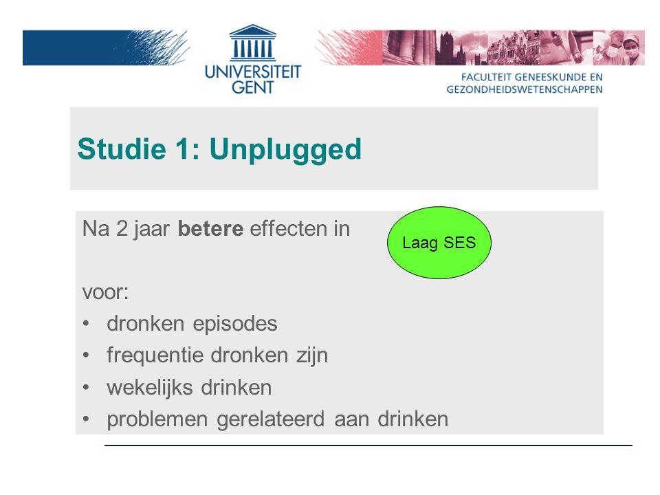 Studie 1: Unplugged Na 2 jaar betere effecten in voor: dronken episodes frequentie dronken zijn wekelijks drinken problemen gerelateerd aan drinken Laag SES