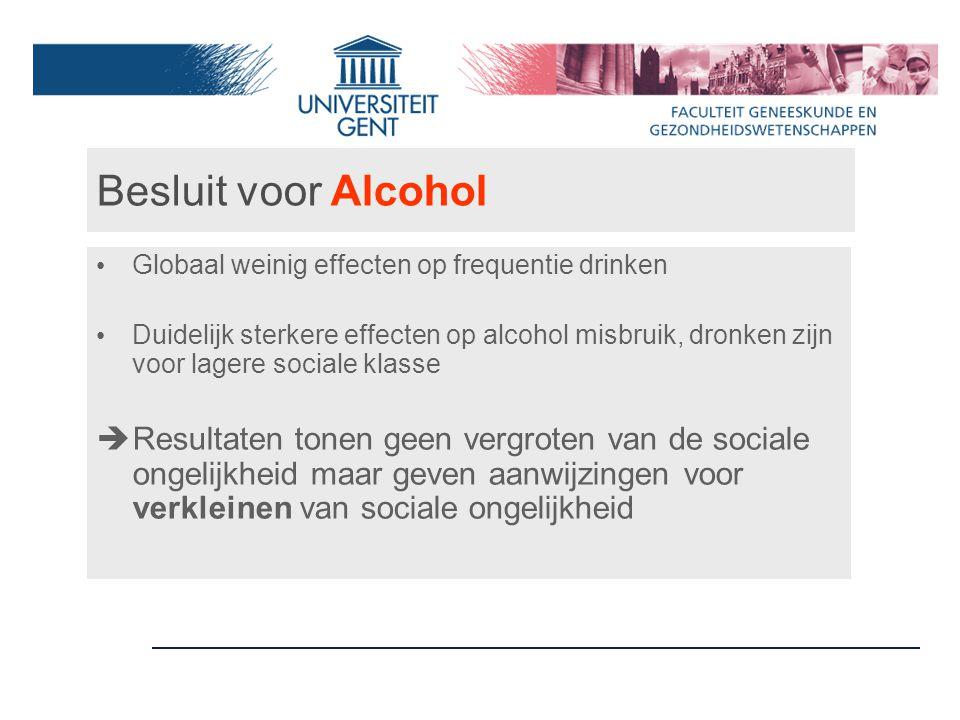 Besluit voor Alcohol Globaal weinig effecten op frequentie drinken Duidelijk sterkere effecten op alcohol misbruik, dronken zijn voor lagere sociale klasse  Resultaten tonen geen vergroten van de sociale ongelijkheid maar geven aanwijzingen voor verkleinen van sociale ongelijkheid