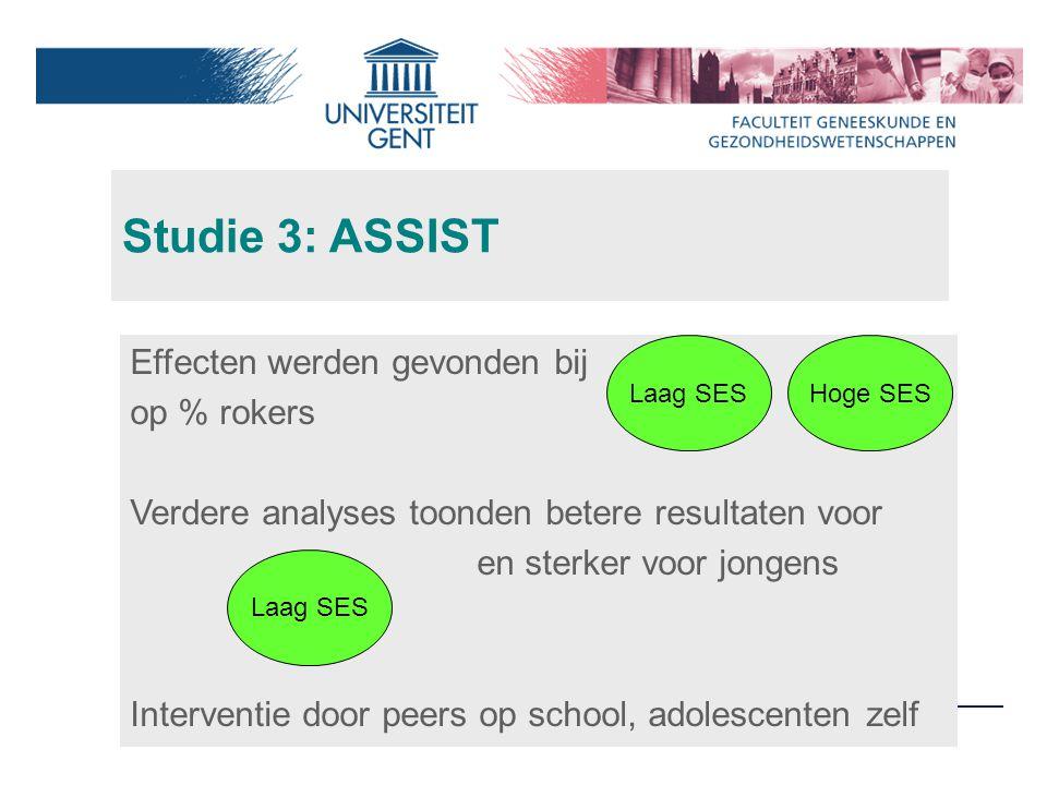 Studie 3: ASSIST Effecten werden gevonden bij op % rokers Verdere analyses toonden betere resultaten voor en sterker voor jongens Interventie door peers op school, adolescenten zelf Hoge SESLaag SES