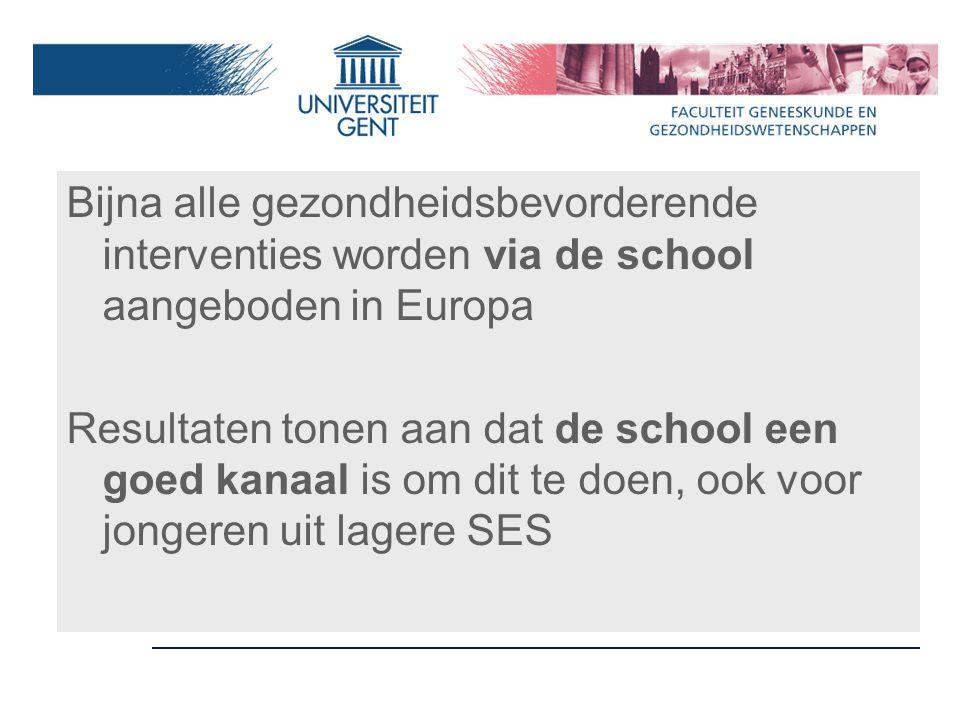 Bijna alle gezondheidsbevorderende interventies worden via de school aangeboden in Europa Resultaten tonen aan dat de school een goed kanaal is om dit te doen, ook voor jongeren uit lagere SES
