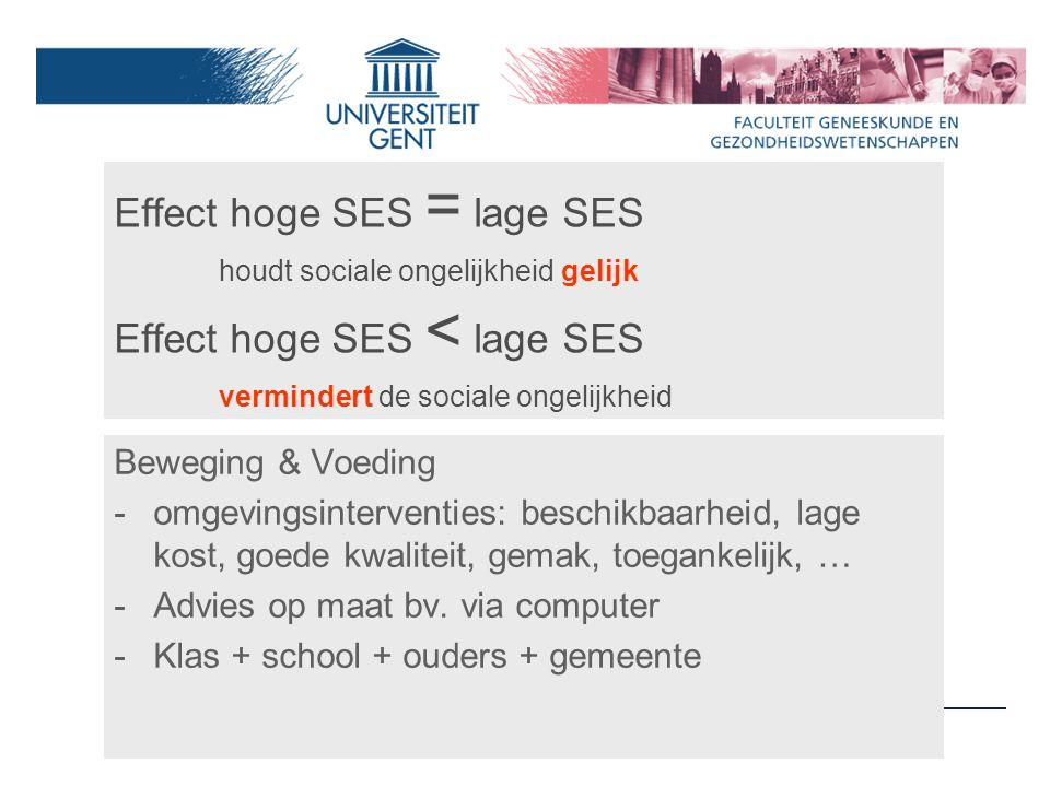 Effect hoge SES = lage SES houdt sociale ongelijkheid gelijk Effect hoge SES < lage SES vermindert de sociale ongelijkheid Beweging & Voeding -omgevingsinterventies: beschikbaarheid, lage kost, goede kwaliteit, gemak, toegankelijk, … -Advies op maat bv.