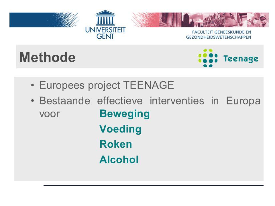 Methode Europees project TEENAGE Bestaande effectieve interventies in Europa voorBeweging Voeding Roken Alcohol