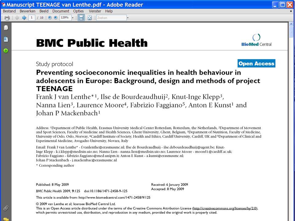 Methode Studies voor beweging (n=20), *** voeding (n=17), roken (n=21) alcohol consumptie (n=4) Meeste van deze studies op school of via de school