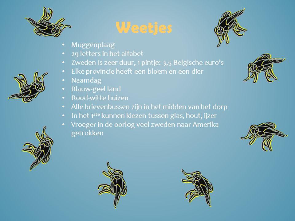 Weetjes Muggenplaag 29 letters in het alfabet Zweden is zeer duur, 1 pintje: 3,5 Belgische euro's Elke provincie heeft een bloem en een dier Naamdag B