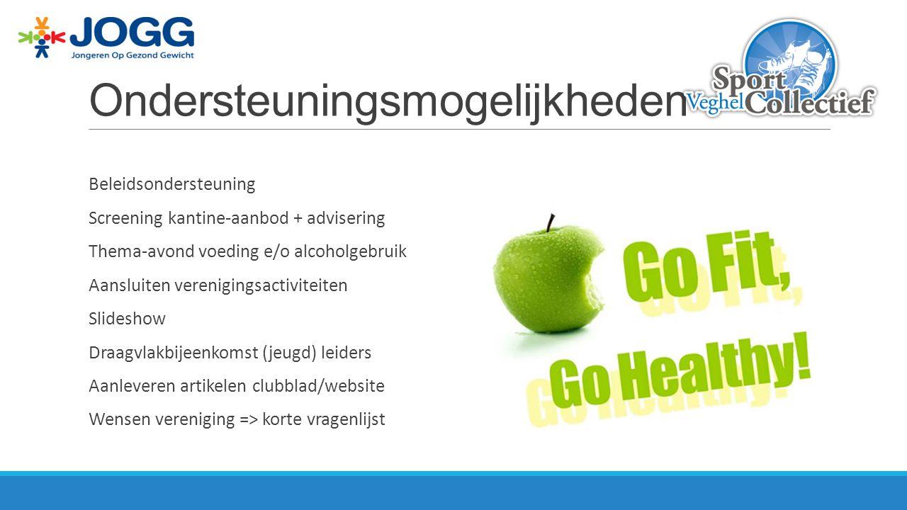 Ondersteuningsmogelijkheden Beleidsondersteuning Screening kantine-aanbod + advisering Thema-avond voeding e/o alcoholgebruik Aansluiten verenigingsac