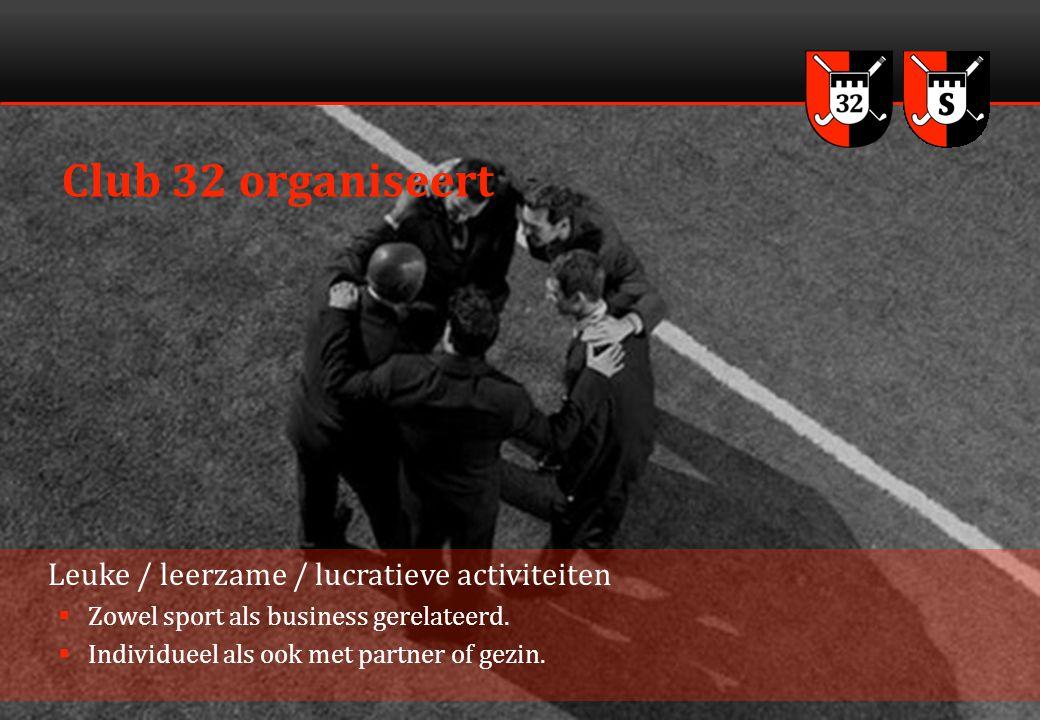 3 Club 32 organiseert Leuke / leerzame / lucratieve activiteiten  Zowel sport als business gerelateerd.  Individueel als ook met partner of gezin.