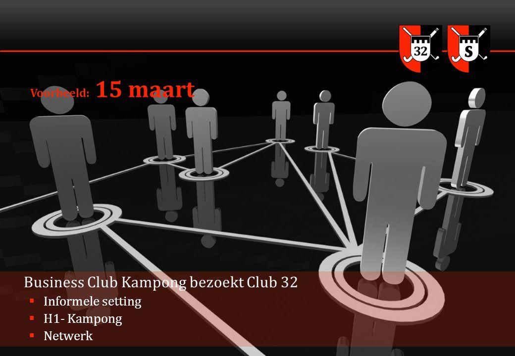 4 Voorbeeld: 15 maart Business Club Kampong bezoekt Club 32  Informele setting  H1- Kampong  Netwerk